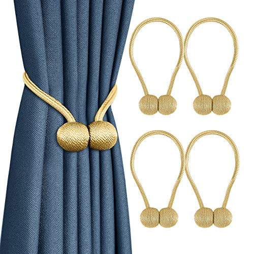 Curtain Tiebacks, Magnetic Curtain Holdbacks Drape Holder Decorative Rope Clips with Magnets for Home Decor No Drilling Design, Set of 4 Gold ()