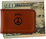 Peace Sign Leatherette Magnetic Money Clip - Single Sided (Personalized)