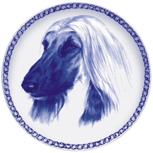 Afghan Hound Lekven Design Dog Plate 19.5 cm  7.61 inches Made in Denmark NEW with certificate of origin PLATE  7558