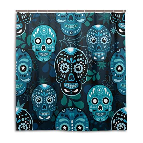 MOFEIYUE Shower Curtains Blue Mexico Sugar Skull Waterproof Bath Curtain Bathroom Home Decor 66 x 72 in with 12 Hooks]()