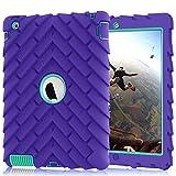 iPad 4 Case,iPad 2 Case,iPad 3 Case, Heavy Duty Shock-Absorption Three Layer Armor Defender Protective Case for iPad 2/iPad 3/iPad 4 (Purple+Mint Green)