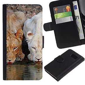 KLONGSHOP / Tirón de la caja Cartera de cuero con ranuras para tarjetas - Lion Cute Nature Water Africa Animals - Samsung Galaxy S6 SM-G920