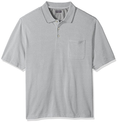 Big and Tall Flex Jacquard Short Sleeve Stripe Polo Shirt (Jacquard Polo Golf Shirt)