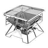 LYY Stainless Steel Household Charcoal Grill, Outdoor Portable Collapsible BBQ Grill with Three Height Adjustment and Anti-Collision Storage Bag for More Than 5 People