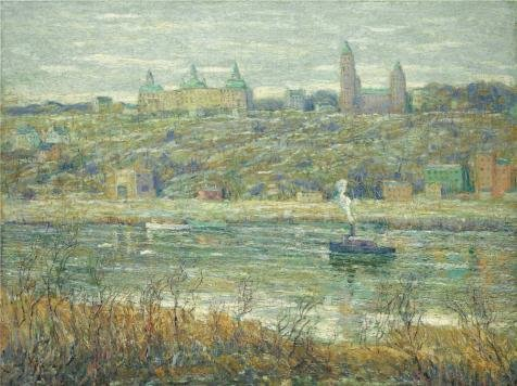 Polyster Canvas ,the Best Price Art Decorative Canvas Prints Of Oil Painting 'Ernest Lawson,On The Harlem,about 1910', 20x27 Inch / 51x68 Cm Is Best For Kitchen Decoration And Home Gallery Art And Gifts