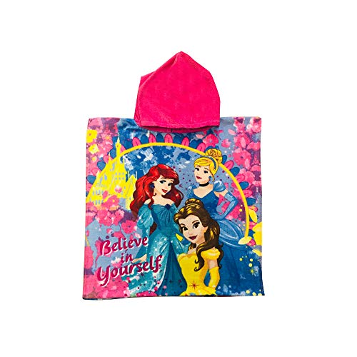KomarKids Princess Ariel, Cinderella and Belle Believe in Yourself Pink and Blue Flowered Hooded Poncho Towel