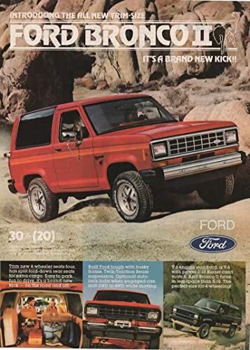 Magazine Print Ad: Red 1983 Ford Bronco II, 2WD, 4WD, V-6,