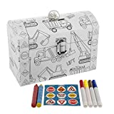DG Treasures Tri-Coastal-Design Kid's Color Your Own Piggy Bank Personalized Coin Chest Trucks Art Supplies