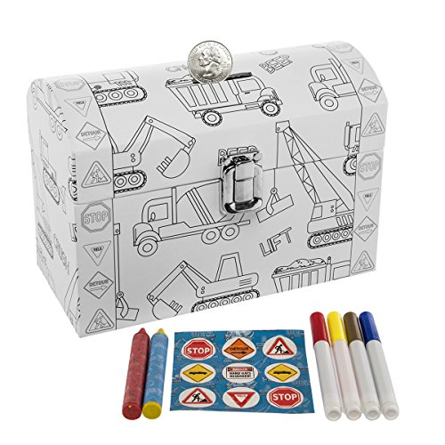 Tri-Coastal-Design Kid's Color Your Own Piggy Bank Personalized Coin Chest Trucks Art Supplies