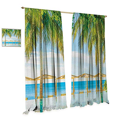 (Anniutwo Landscape Room Darkening Wide Curtains Exotic Beach with Pool Nature with Soft Light Sun Rays Fantastic Holiday Theme Decor Curtains by W120 x L108 Green Blue)