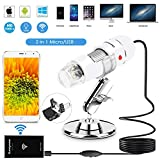 WiFi USB Microscope 40 to 1000x Digital Handheld Microscope WiFi Endoscope 8 LED with 2 in 1 Micro USB Support for Android Smartphone, iPhone, Tablet, Widows by Sunnywoo