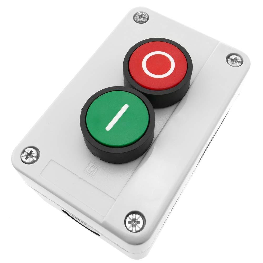 Caja de Control con 2 pulsadores momentaneos Verde 1NO Rojo 1NC BeMatik