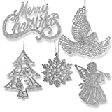 BANBERRY DESIGNS Silver Christmas Ornaments - Pack of 39 Silver Glitter Ornaments - Merry Christmas, Angels, Doves, Xmas Trees and Snowflakes - Christmas Decorations