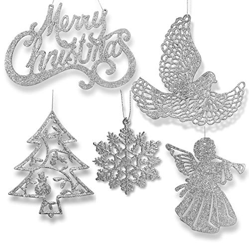 - BANBERRY DESIGNS Silver Christmas Ornaments - Pack of 39 Silver Glitter Ornaments - Merry Christmas, Angels, Doves, Xmas Trees and Snowflakes - Christmas Decorations
