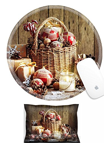 Luxlady Mouse Wrist Rest and Round Mousepad Set, 2pc IMAGE: 33968929 Christmas Basket with Vintage Gifts and Shining Candle Red balls Pine cones Snowflakes Boxes on Wooden Table Warm Toned effec