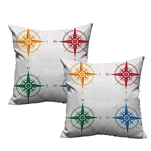 (RuppertTextile Living Room Sofa Hug Pillowcase Compass Colorful Different Compasses Set Orientation Icons Earths Magnetic Field Find Your Way Suitable for Hair and Skin Health W20 xL20 2 pcs)