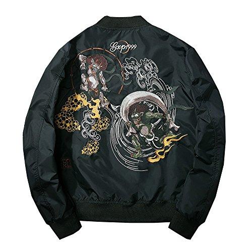 (Lemosery Men's Fashion Chinese Embroidered Totem Bomber Jacket Windbreaker Moto Baseball Jacket)