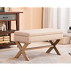Fabric Upholstered Storage Ottoman Bench, Large Rectangular Beige Footrest Collapsible Bench Seat with Nailhead Trim & X-Shaped Wood Legs for Living Room, Bed Room, Hallway or Utility Room by Chairus