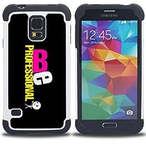 """SAMSUNG Galaxy S5 V / i9600 / SM-G900 - 3 en 1 impreso colorido de Altas Prestaciones PC Funda chaqueta Negro cubierta gel silicona suave (Se profesional"""")"""
