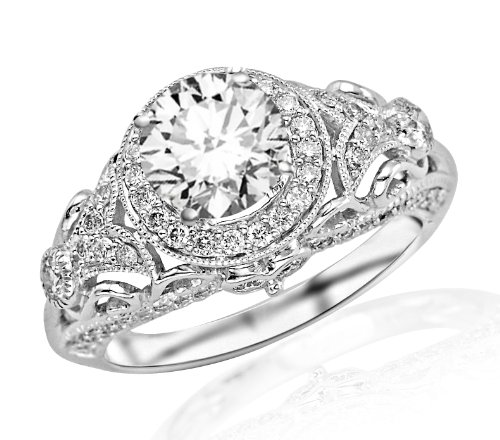 - 1.45 Carat Round Cut Round Diamond Engagement Ring 14K White Gold Vintage Halo Style (F-G Color, SI2-I1 Clarity)