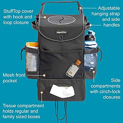 High Road StashAway Car Seat Back Organizer with Trash Can, Tissue and Cup Holders: Automotive