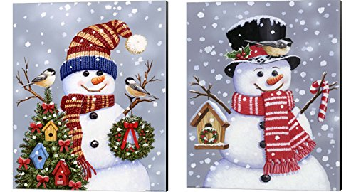 Snowman With Tophat & Wreath by William Vanderdasson, 2 Piece Canvas Art Set, 8 X 10 Inches Each, Christmas Art