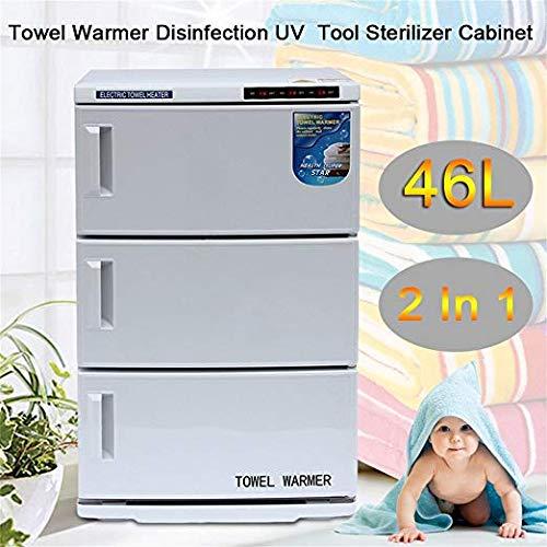 Calentador de toallas 2 en 1 caliente Towel Warmer Gabinete y UV Esterilizador, 48L, Blanco, Barbería, Salon, Spa