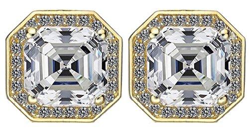 NANA Asscher-Cut Halo Stud Earring-Sterling Silver Swarovski Zirconia 14kt Solid Gold double notched Post (yellow-gold-plated-silver, 4.00 MM Asscher Cut Cubic Zirconia) (Asscher Stud)