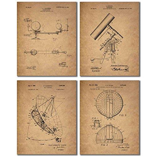 Astronomy Patent Prints - Set of Four 8x10 Vintage Wall Art Decor Photos