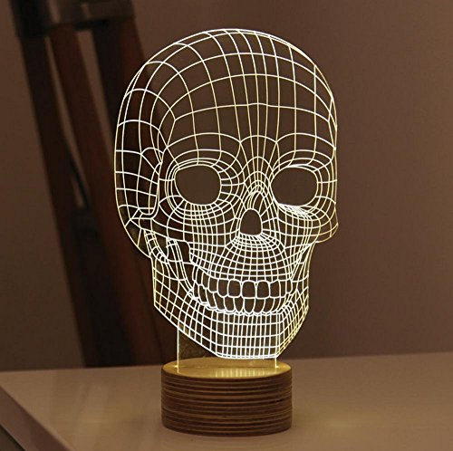 Homecube 3D Visualization LED Lights Art Sculpture Night Lights Amazing Optical Illusion Home Decor Lamp Unique Lighting Effects Desk Lamp Home Decorations for Kid and Lovers (Skull)