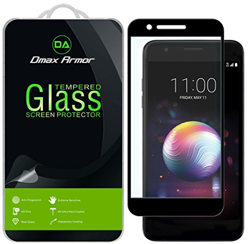 [2-Pack] Dmax Armor for LG Premier Pro LTE [Tempered Glass] Screen Protector, (Full Screen Coverage) with Lifetime Replacement (Black)
