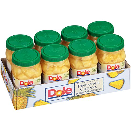 Fresh Pineapple - Dole Pineapple Chunks, 23.5 Ounce Jars (Pack of 8)