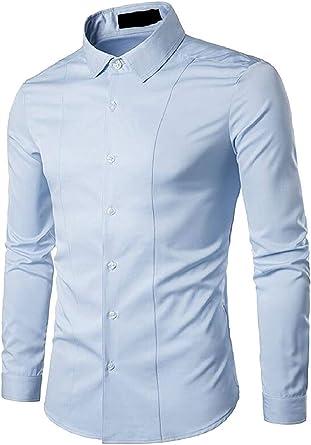 ShuangRun Camisa Lisa de Manga Larga Informal con Cuello de botón, para Hombre, Color Blanco, pequeña Azul Azul Claro XS: Amazon.es: Ropa y accesorios