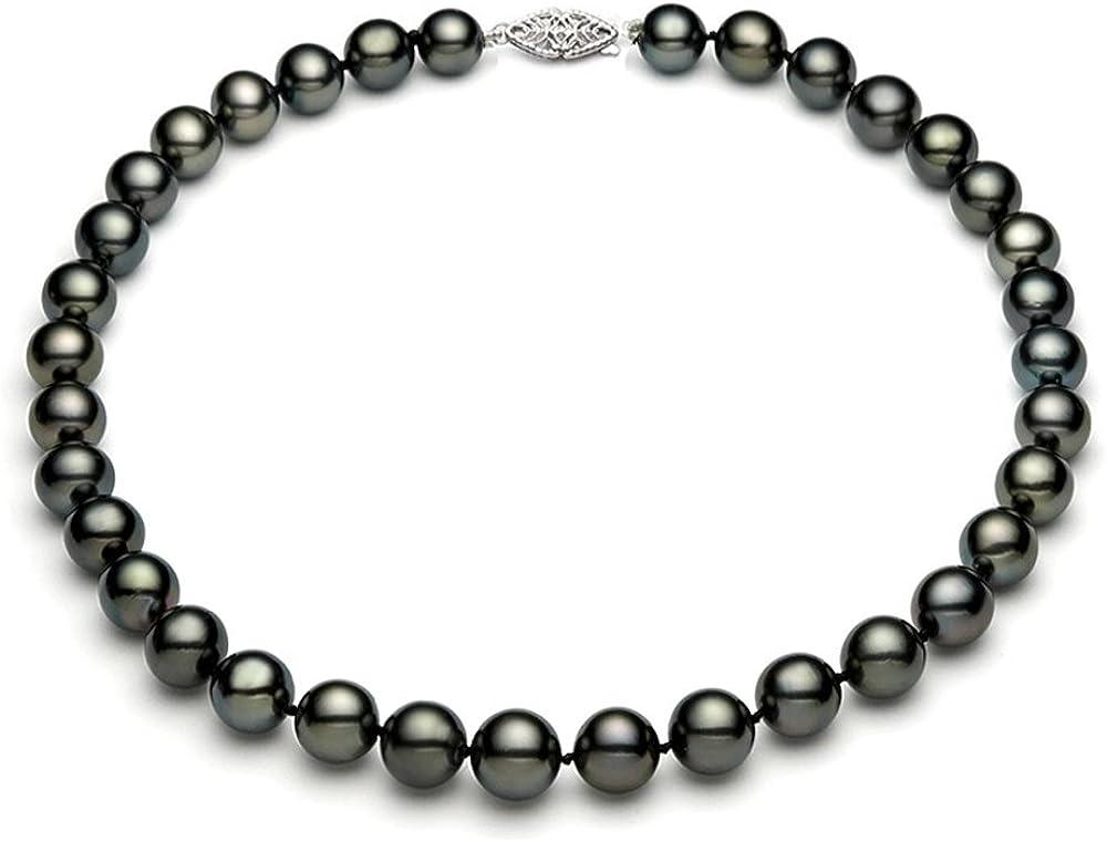 Naturel Noir Perle Bracelet 14k Or Blanc Fermoir