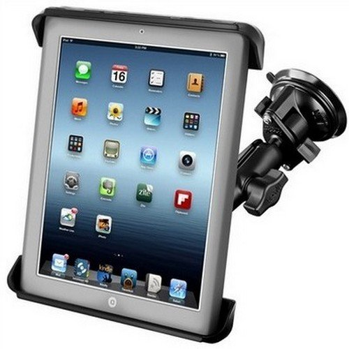 """RAM Mounts (RAM-B-166-TAB-LGU) Twist Lock Suction Cup Mount and Tab-Tite Universal Clamping Cradle for 10"""" Screen Tablets Including the Apple Ipad 4 (with Lightning Connector), Ipad 3, Ipad 2, Ipad 1, Lifeproof Nüüd Cases and Lifedge Cases"""