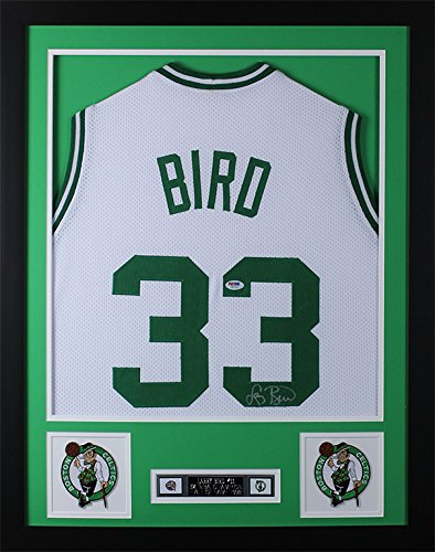 Larry Bird Autographed White Celtics Jersey Beautifully Matted and Framed Hand Signed By Larry Bird and Certified Authentic by PSA COA Includes Certificate of Authenticity