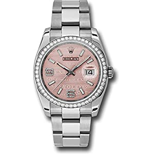 Rolex Datejust 36mm Stainless Steel Case, 18K White Gold Bezel Set With 52 Brilliant-Cut Diamonds, Pink Wave Dial, Diamond Set 6 and 9 Arabic Numeral and Stainless Steel Oyster Bracelet.