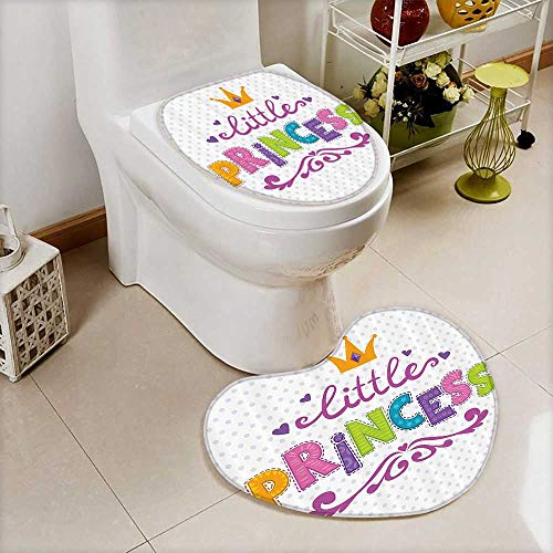 Personalized Princess Cd - vanfan Bathroom Non-Slip Heart shaped foot pad Set Little Princess Lettering kadot Background Cheerful Bathroom Personalized Durable