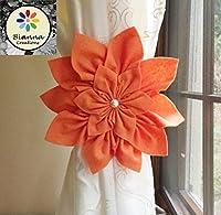 "Handmade 7"" Kanzashi Orange Felt Vanessa Flower Curtain Tieback, Floral Nursery Holdback Home Decoration, Flower Baby Shower Gift Decor Idea"