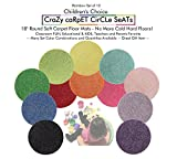 Sets of 12 Rainbow | CHILDREN'S CRAZY CARPET CIRCLE SEATS 18'' Rug Mats (Buy More Save $$ - 1-5 Set Discounts) (1 Set of 12 Seats)