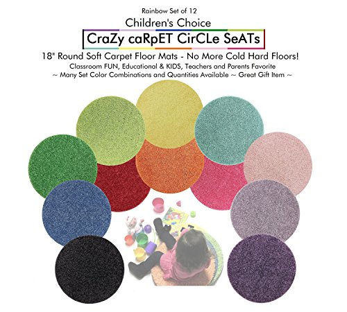 Sets of 12 Rainbow | CHILDREN'S CRAZY CARPET CIRCLE SEATS 18'' Rug Mats (Buy More Save $$ - 1-5 Set Discounts) (1 Set of 12 Seats) by Children's Choice
