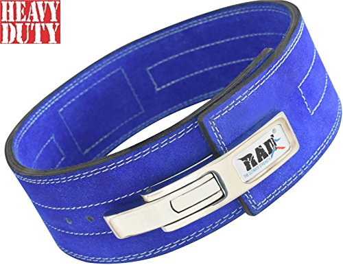 Blue Training Belt - RAD Nubuck Leather Weight Lifting Lever Pro Belt Back Support Gym Training Blue New (Large)