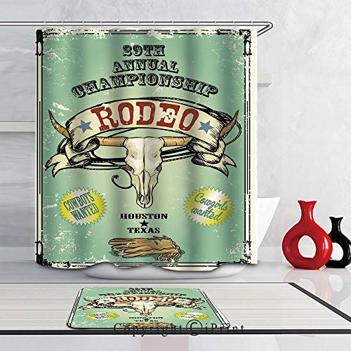 "3D Print Waterproof Fabric Bathroom Curtain and Rug Set with Hooks,Colorful, (69""W x 70""L)Shower Curtains + (24""W x 16""L)Bath Mat by Retro Style Rodeo Championship Poster Bull Skull Large Horns with B"