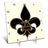 3dRose Large black and Gold Fleur De Lis Christian Saints Symbol - Desk Clock, 6 by 6-Inch (dc_22360_1)