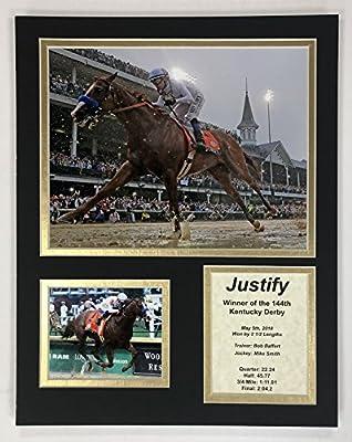 "Legends Never Die Justify - 2018 Kentucky Derby Winner - 11""x14"" Unframed Matted Photo Collage"