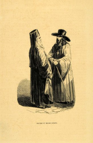 1844 Engraving Costume Russian Priest Monk Russia - Original (Russian Period Costume)
