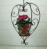 Stöberdeel Blumenampel Herz zum Hängen, mit Kette, aus Eisen in Braun
