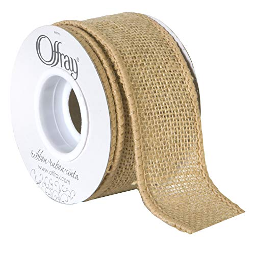 Offray Wired Edge Burlap Craft Ribbon, 1 1/2-Inch