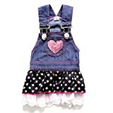 SELMAI Dog Dress Princess Denim Pleated Tiered Outfits Skirt Polka Dots Heart Paillettes Summer Blue XS,for Small Dog Cat Puppy