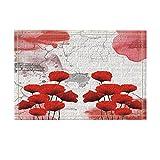NYMB Abstract Art Decor, Red Poppy Flower with Brick Wall in Vintgae Bath Rugs, Non-Slip Doormat Floor Entryways Indoor Front Door Mat, Kids Bath Mat, 15.7x23.6in, Bathroom Accessories